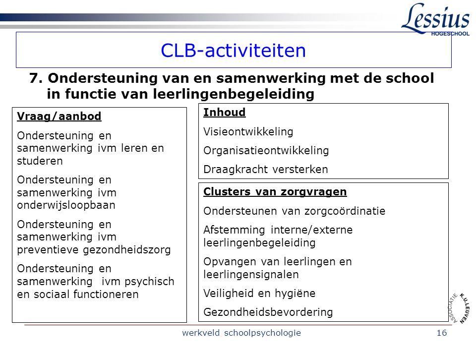 werkveld schoolpsychologie16 CLB-activiteiten 7.