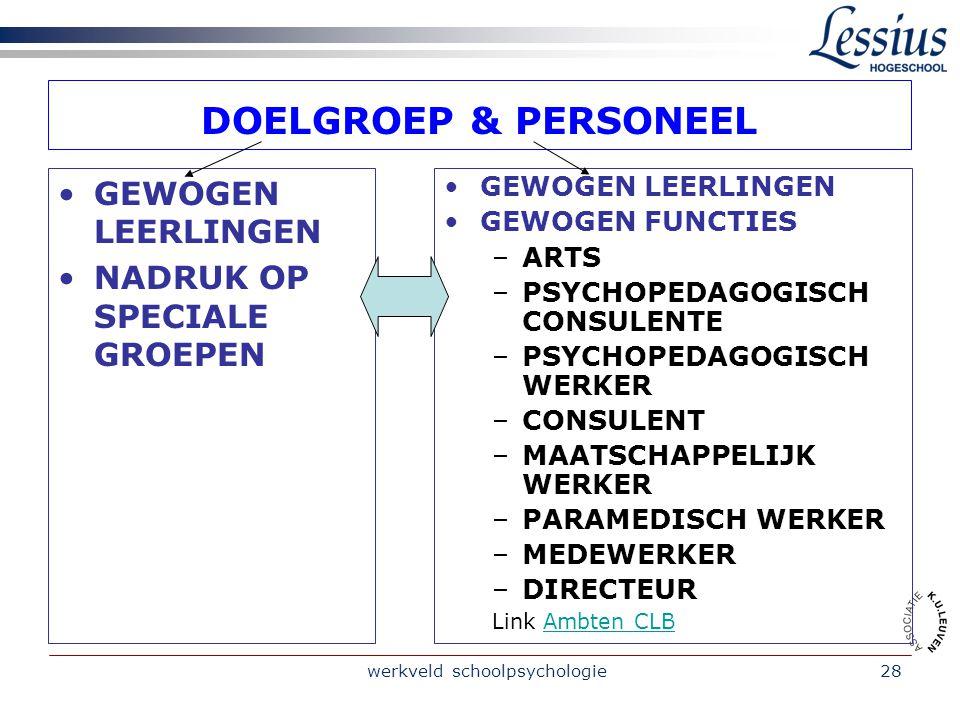 werkveld schoolpsychologie28 DOELGROEP & PERSONEEL GEWOGEN LEERLINGEN NADRUK OP SPECIALE GROEPEN GEWOGEN LEERLINGEN GEWOGEN FUNCTIES –ARTS –PSYCHOPEDAGOGISCH CONSULENTE –PSYCHOPEDAGOGISCH WERKER –CONSULENT –MAATSCHAPPELIJK WERKER –PARAMEDISCH WERKER –MEDEWERKER –DIRECTEUR Link Ambten CLBAmbten CLB