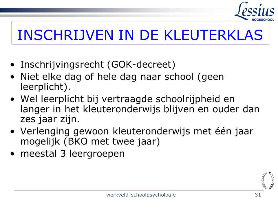 werkveld schoolpsychologie31 INSCHRIJVEN IN DE KLEUTERKLAS Inschrijvingsrecht (GOK-decreet) Niet elke dag of hele dag naar school (geen leerplicht).
