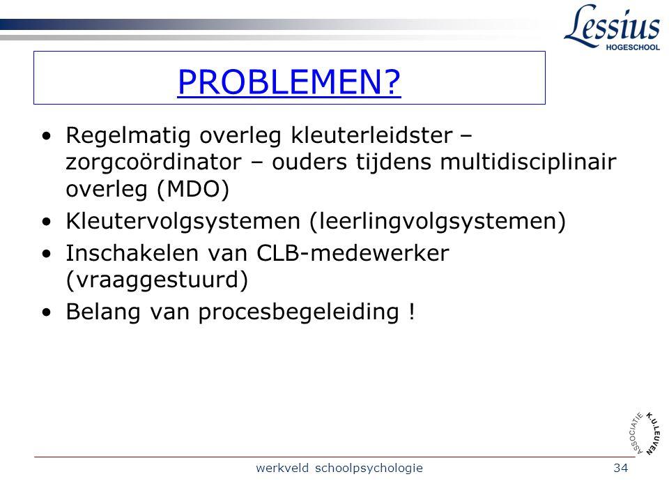 werkveld schoolpsychologie34 PROBLEMEN.