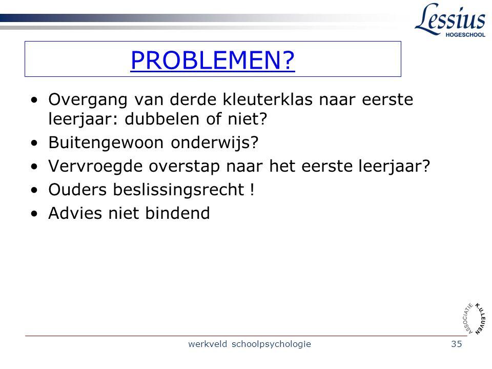 werkveld schoolpsychologie35 PROBLEMEN.