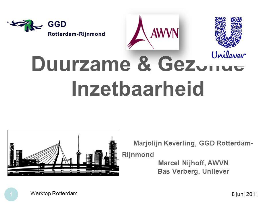 Duurzame & Gezonde Inzetbaarheid Marjolijn Keverling, GGD Rotterdam- Rijnmond Marcel Nijhoff, AWVN Bas Verberg, Unilever 8 juni 2011 Werktop Rotterdam