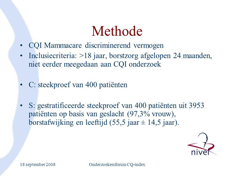 18 september 2008Onderzoekersforum CQ-index Methode CQI Mammacare discriminerend vermogen Inclusiecriteria: >18 jaar, borstzorg afgelopen 24 maanden,