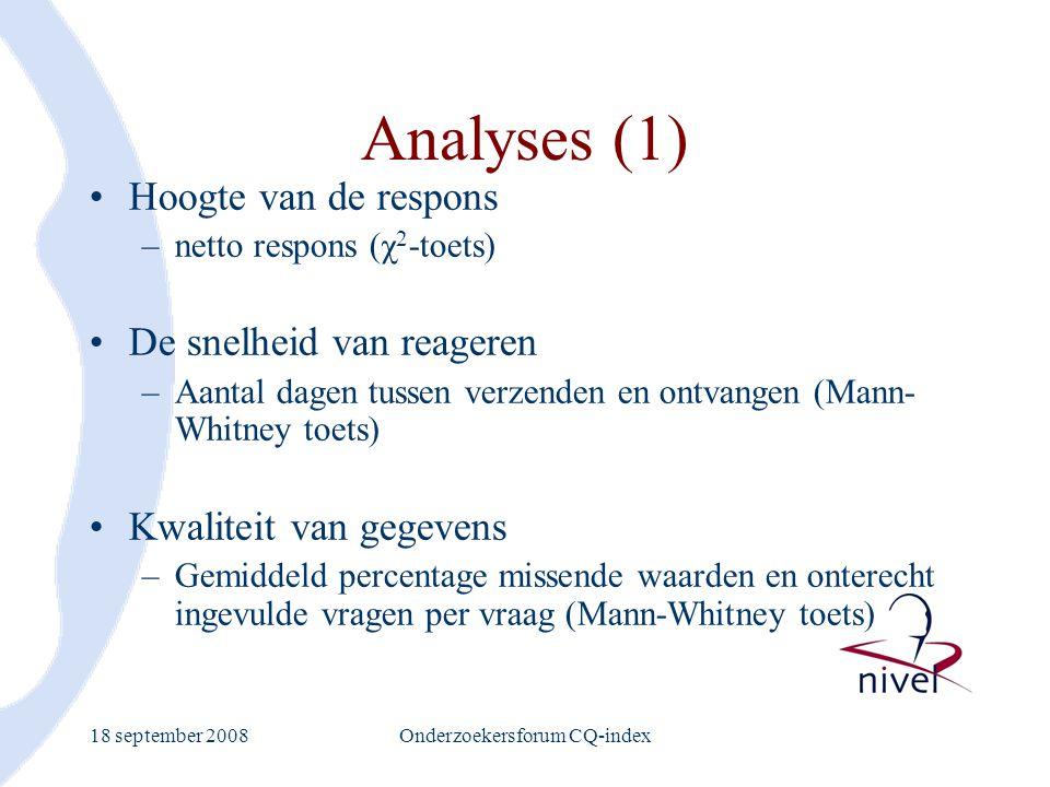 18 september 2008Onderzoekersforum CQ-index Analyses (1) Hoogte van de respons –netto respons (χ 2 -toets) De snelheid van reageren –Aantal dagen tuss