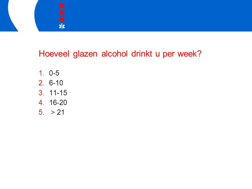 Hoeveel glazen alcohol drinkt u per week 1.0-5 2.6-10 3.11-15 4.16-20 5. > 21