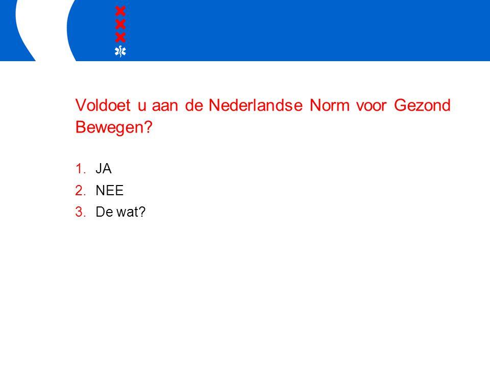 Voldoet u aan de Nederlandse Norm voor Gezond Bewegen 1.JA 2.NEE 3.De wat