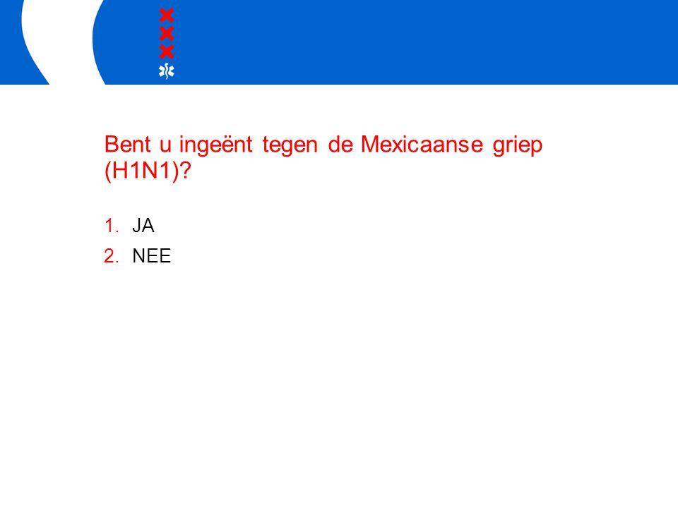 Bent u ingeënt tegen de Mexicaanse griep (H1N1) 1.JA 2.NEE