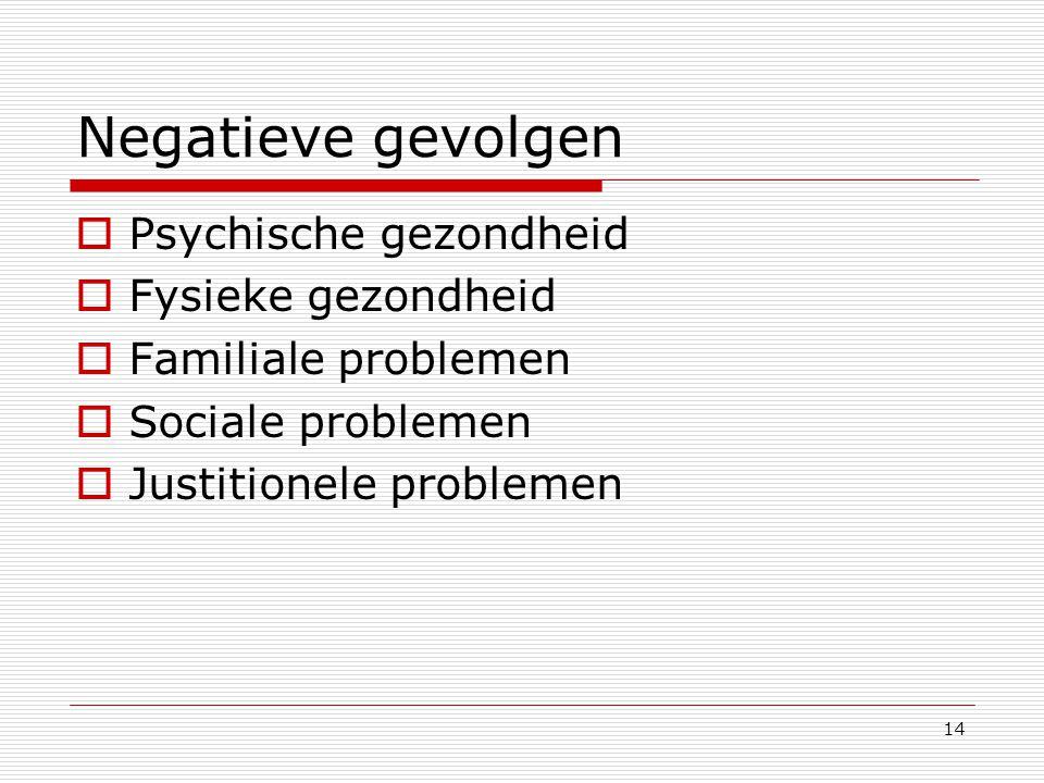 14 Negatieve gevolgen  Psychische gezondheid  Fysieke gezondheid  Familiale problemen  Sociale problemen  Justitionele problemen