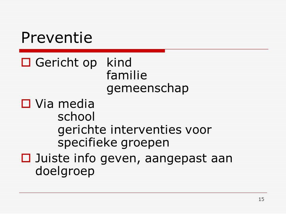 15 Preventie  Gericht op kind familie gemeenschap  Via media school gerichte interventies voor specifieke groepen  Juiste info geven, aangepast aan