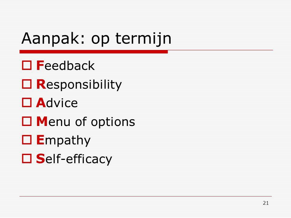 21 Aanpak: op termijn  F eedback  R esponsibility  A dvice  M enu of options  E mpathy  S elf-efficacy