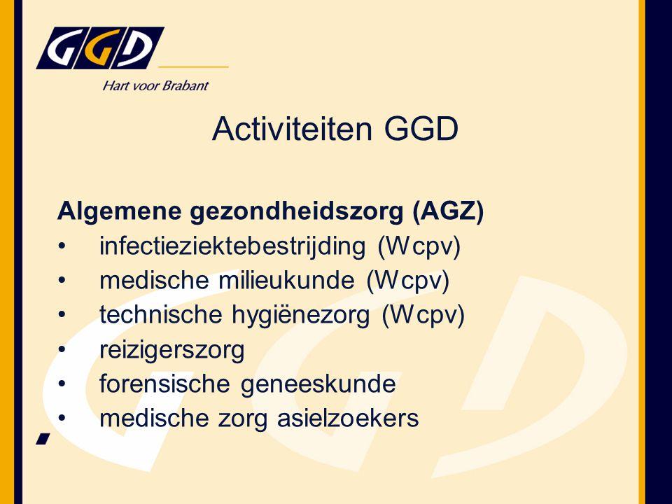 Activiteiten GGD Algemene gezondheidszorg (AGZ) infectieziektebestrijding (Wcpv) medische milieukunde (Wcpv) technische hygiënezorg (Wcpv) reizigerszorg forensische geneeskunde medische zorg asielzoekers