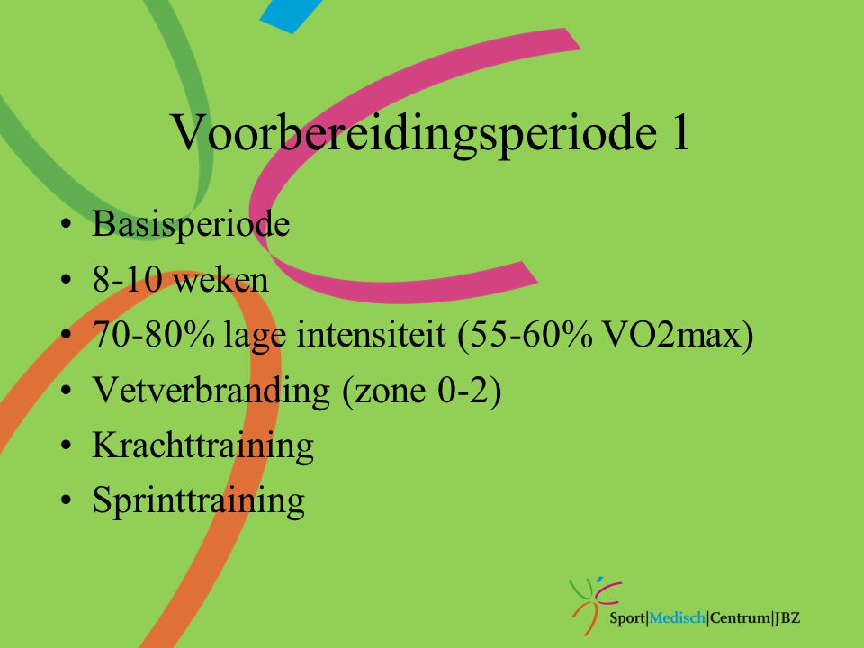Voorbereidingsperiode 1 Basisperiode 8-10 weken 70-80% lage intensiteit (55-60% VO2max) Vetverbranding (zone 0-2) Krachttraining Sprinttraining
