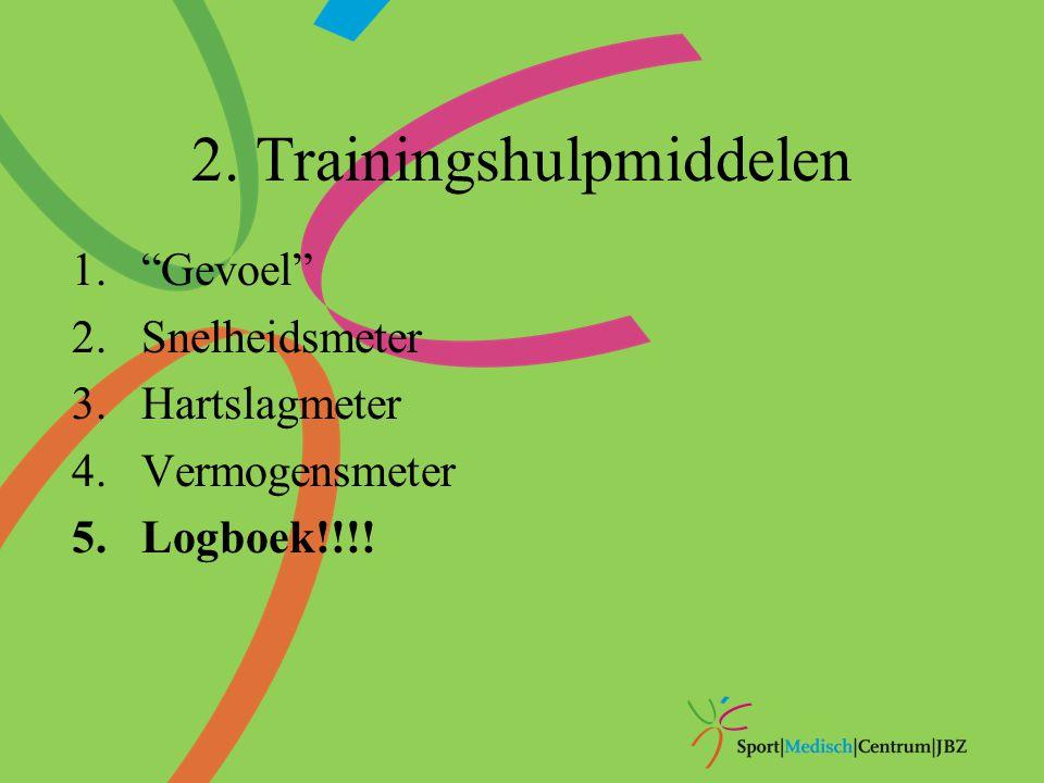 "2. Trainingshulpmiddelen 1.""Gevoel"" 2.Snelheidsmeter 3.Hartslagmeter 4.Vermogensmeter 5.Logboek!!!!"