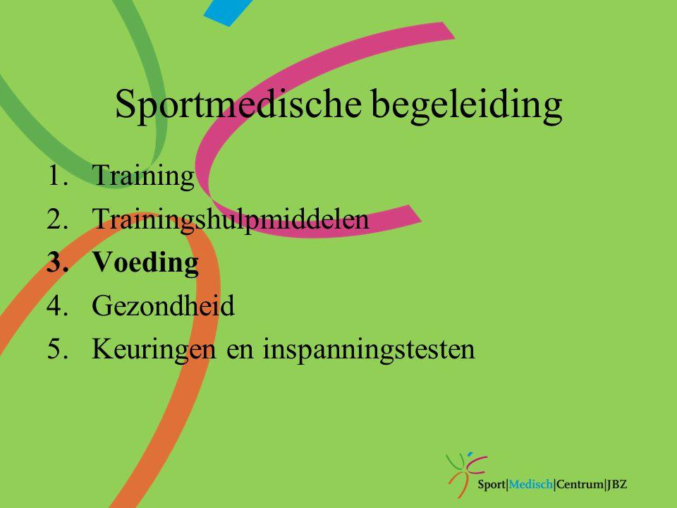 Sportmedische begeleiding 1.Training 2.Trainingshulpmiddelen 3.Voeding 4.Gezondheid 5.Keuringen en inspanningstesten