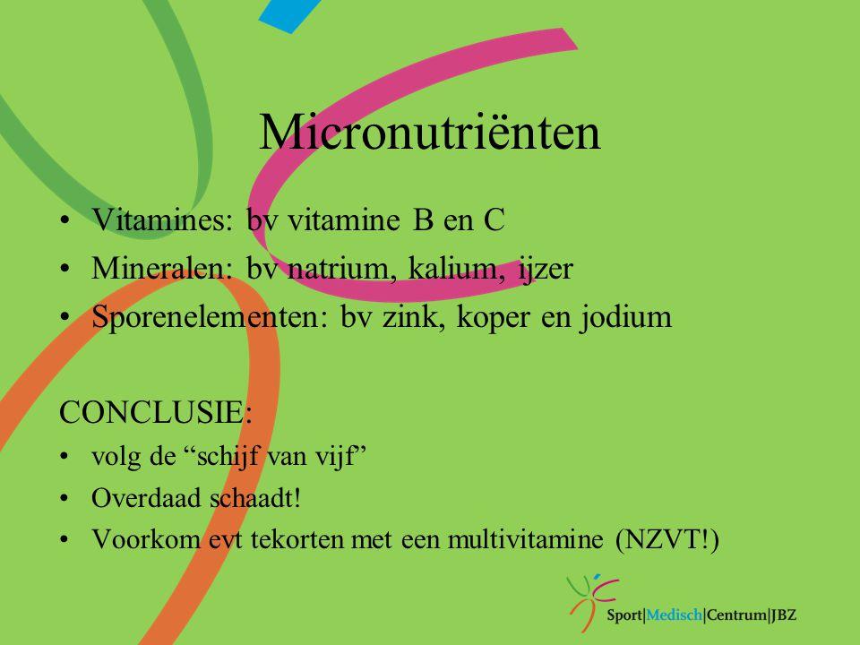 """Micronutriënten Vitamines: bv vitamine B en C Mineralen: bv natrium, kalium, ijzer Sporenelementen: bv zink, koper en jodium CONCLUSIE: volg de """"schij"""
