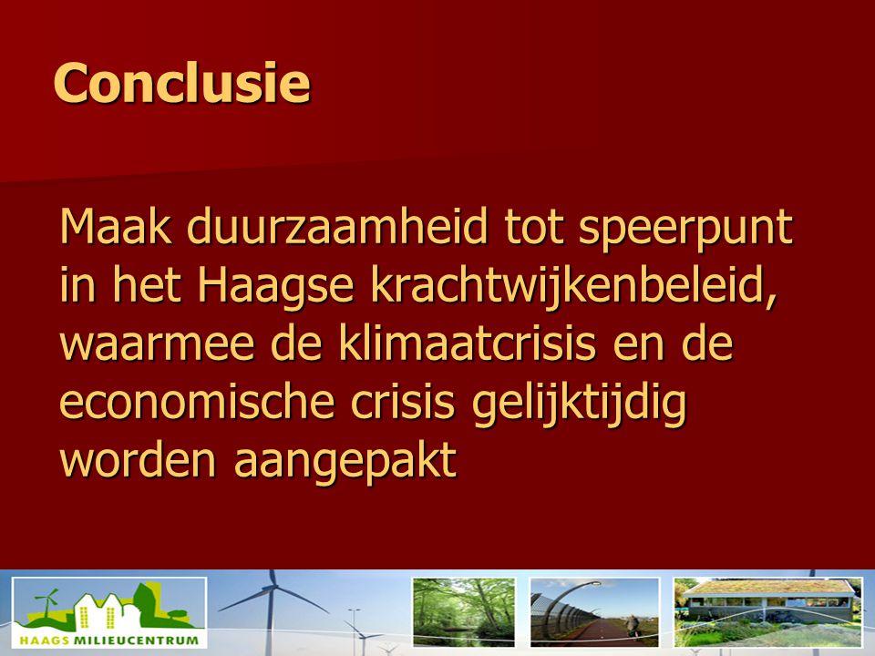 Conclusie Maak duurzaamheid tot speerpunt in het Haagse krachtwijkenbeleid, waarmee de klimaatcrisis en de economische crisis gelijktijdig worden aangepakt