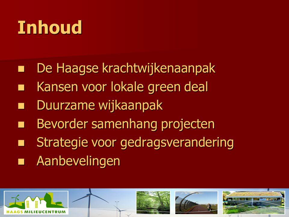 Inhoud De Haagse krachtwijkenaanpak De Haagse krachtwijkenaanpak Kansen voor lokale green deal Kansen voor lokale green deal Duurzame wijkaanpak Duurzame wijkaanpak Bevorder samenhang projecten Bevorder samenhang projecten Strategie voor gedragsverandering Strategie voor gedragsverandering Aanbevelingen Aanbevelingen