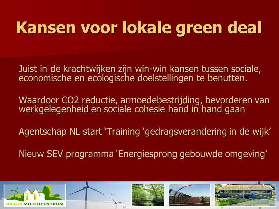 Kansen voor lokale green deal Juist in de krachtwijken zijn win-win kansen tussen sociale, economische en ecologische doelstellingen te benutten.