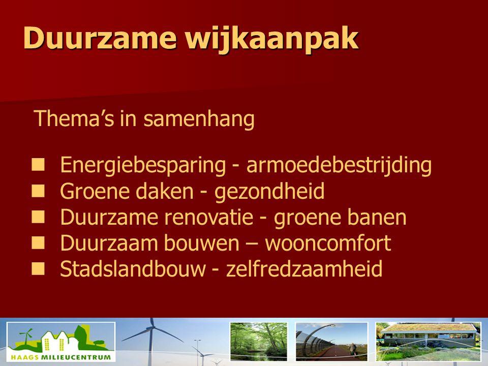 Duurzame wijkaanpak http://stroom.typepad.com/ Beeld: http://stroom.typepad.com/ Energiebesparing - armoedebestrijding Groene daken - gezondheid Duurzame renovatie - groene banen Duurzaam bouwen – wooncomfort Stadslandbouw - zelfredzaamheid Thema's in samenhang