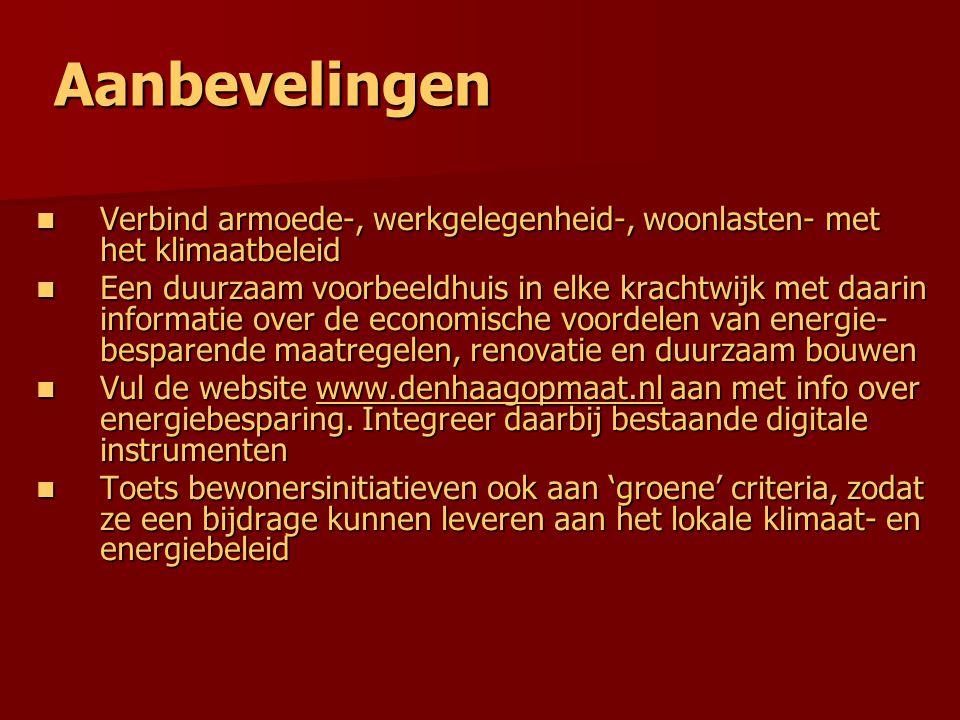 Aanbevelingen Verbind armoede-, werkgelegenheid-, woonlasten- met het klimaatbeleid Verbind armoede-, werkgelegenheid-, woonlasten- met het klimaatbeleid Een duurzaam voorbeeldhuis in elke krachtwijk met daarin informatie over de economische voordelen van energie- besparende maatregelen, renovatie en duurzaam bouwen Een duurzaam voorbeeldhuis in elke krachtwijk met daarin informatie over de economische voordelen van energie- besparende maatregelen, renovatie en duurzaam bouwen Vul de website www.denhaagopmaat.nl aan met info over energiebesparing.