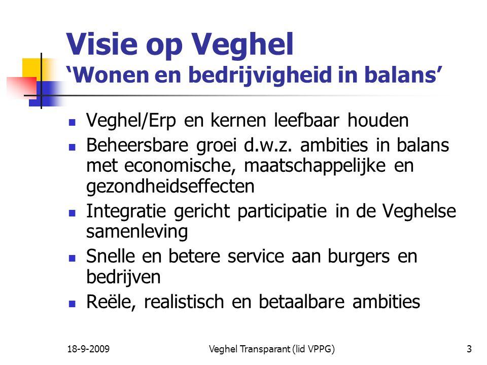 18-9-2009Veghel Transparant (lid VPPG)3 Visie op Veghel 'Wonen en bedrijvigheid in balans' Veghel/Erp en kernen leefbaar houden Beheersbare groei d.w.z.