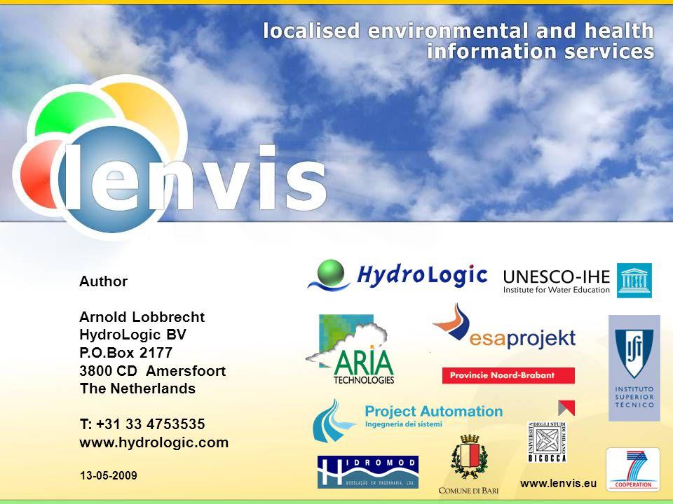 www.lenvis.eu 13-05-2009 Author Arnold Lobbrecht HydroLogic BV P.O.Box 2177 3800 CD Amersfoort The Netherlands T: +31 33 4753535 www.hydrologic.com