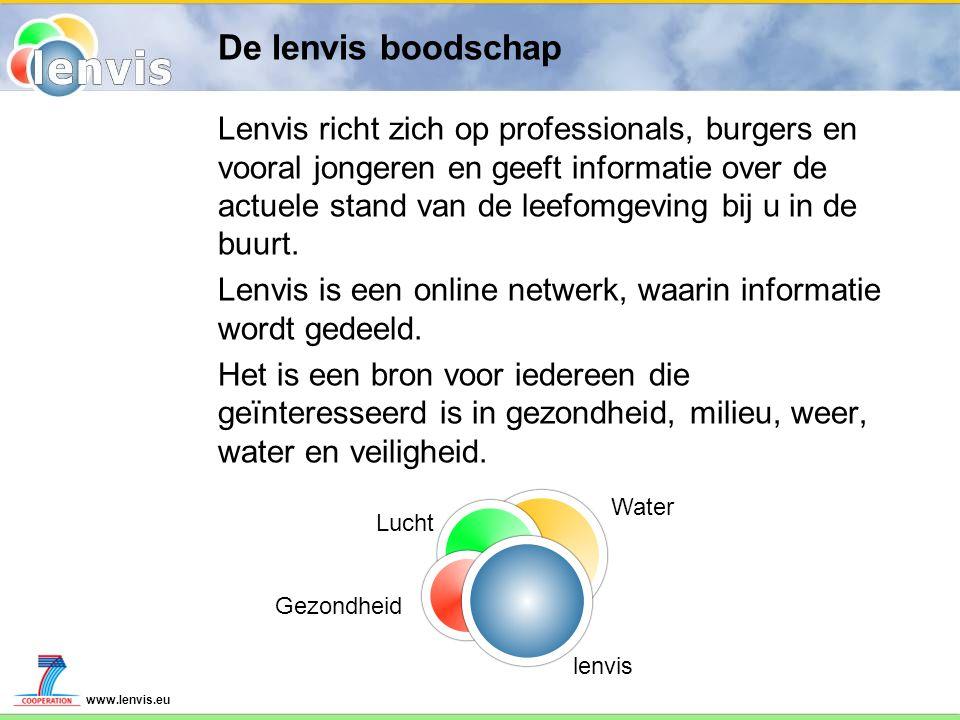 www.lenvis.eu De lenvis boodschap Lenvis richt zich op professionals, burgers en vooral jongeren en geeft informatie over de actuele stand van de leef