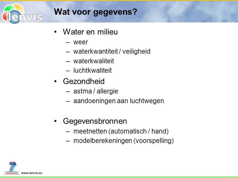 www.lenvis.eu Wat voor gegevens? Water en milieu –weer –waterkwantiteit / veiligheid –waterkwaliteit –luchtkwaliteit Gezondheid –astma / allergie –aan