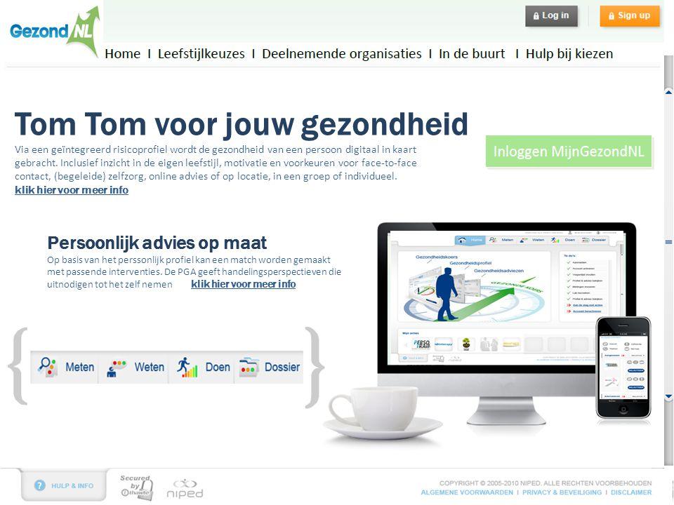 Tom Tom voor jouw gezondheid Via een geïntegreerd risicoprofiel wordt de gezondheid van een persoon digitaal in kaart gebracht.
