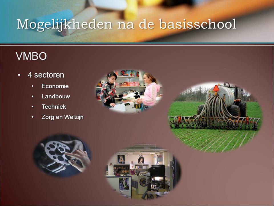 Mogelijkheden na de basisschool VMBO 4 sectoren4 sectoren EconomieEconomie LandbouwLandbouw TechniekTechniek Zorg en WelzijnZorg en Welzijn