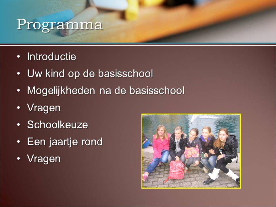 Programma IntroductieIntroductie Uw kind op de basisschoolUw kind op de basisschool Mogelijkheden na de basisschoolMogelijkheden na de basisschool Vra