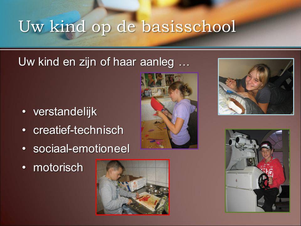 Uw kind op de basisschool Uw kind en zijn of haar aanleg … verstandelijkverstandelijk creatief-technischcreatief-technisch sociaal-emotioneelsociaal-emotioneel motorischmotorisch