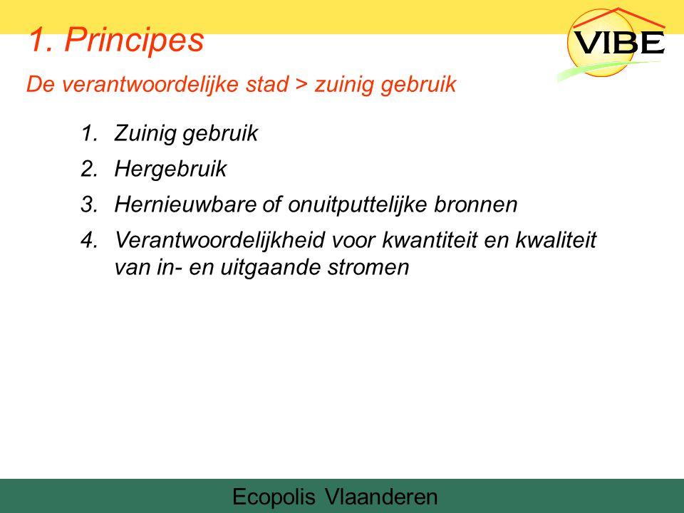 1.Zuinig gebruik 2.Hergebruik 3.Hernieuwbare of onuitputtelijke bronnen 4.Verantwoordelijkheid voor kwantiteit en kwaliteit van in- en uitgaande stromen Ecopolis Vlaanderen 1.