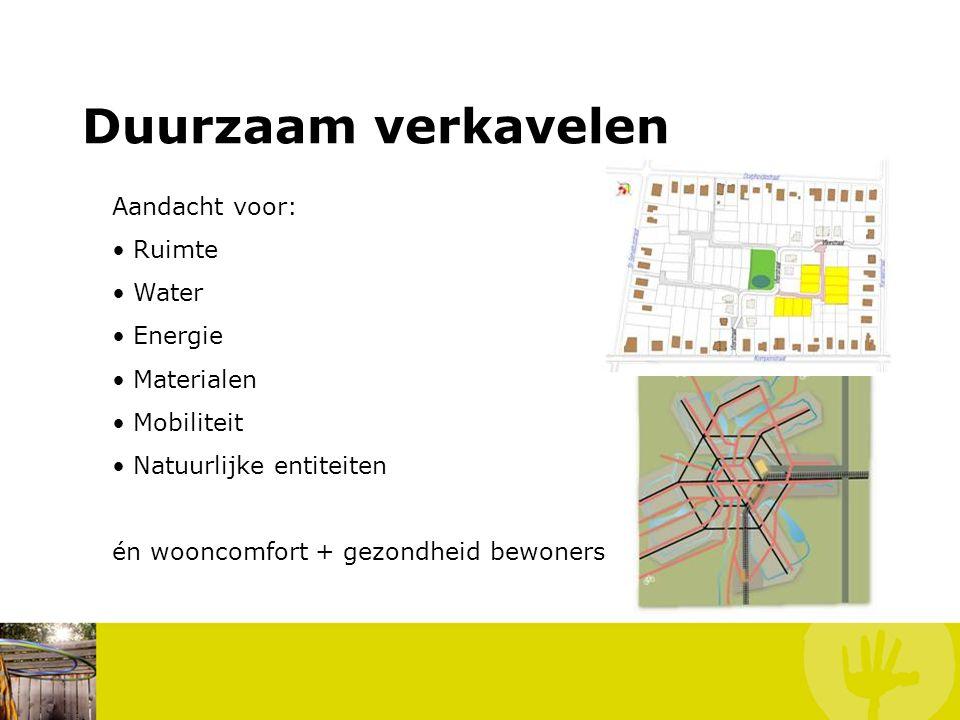 Aandacht voor: Ruimte Water Energie Materialen Mobiliteit Natuurlijke entiteiten én wooncomfort + gezondheid bewoners