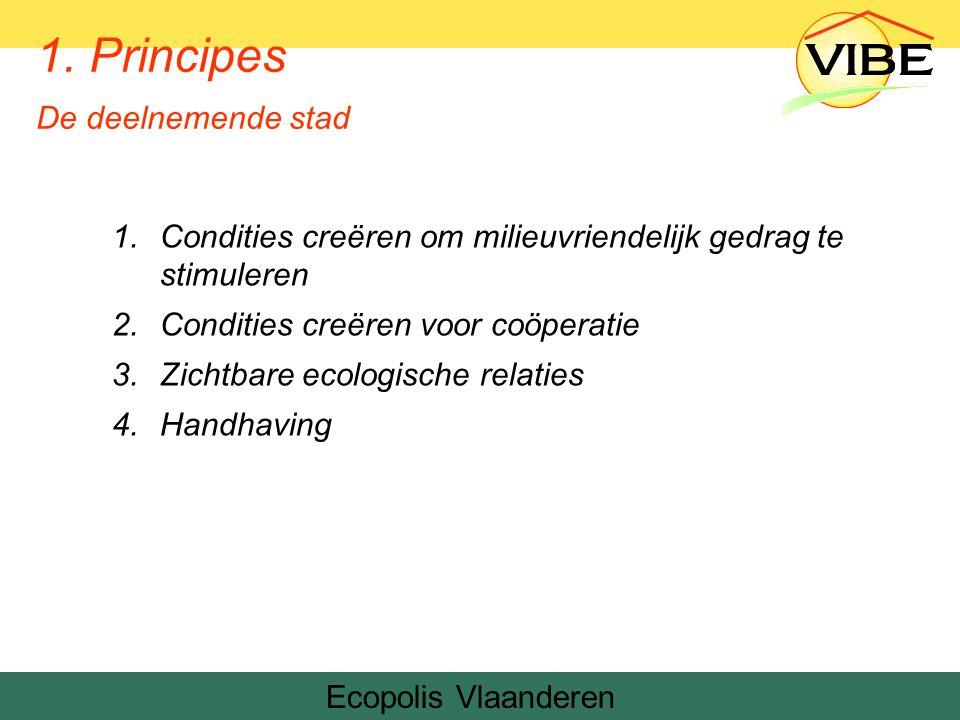 1.Condities creëren om milieuvriendelijk gedrag te stimuleren 2.Condities creëren voor coöperatie 3.Zichtbare ecologische relaties 4.Handhaving Ecopolis Vlaanderen 1.