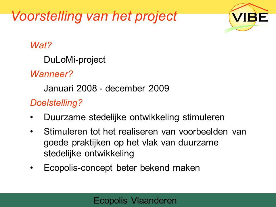 Project: duurzame bouwgrond Tijdsinvestering Externe communicatie (folders, artikels, infoavonden …) Interne communicatie (cbs en mede-collega's dienst) Wettelijke voorwaarden uitpluizen