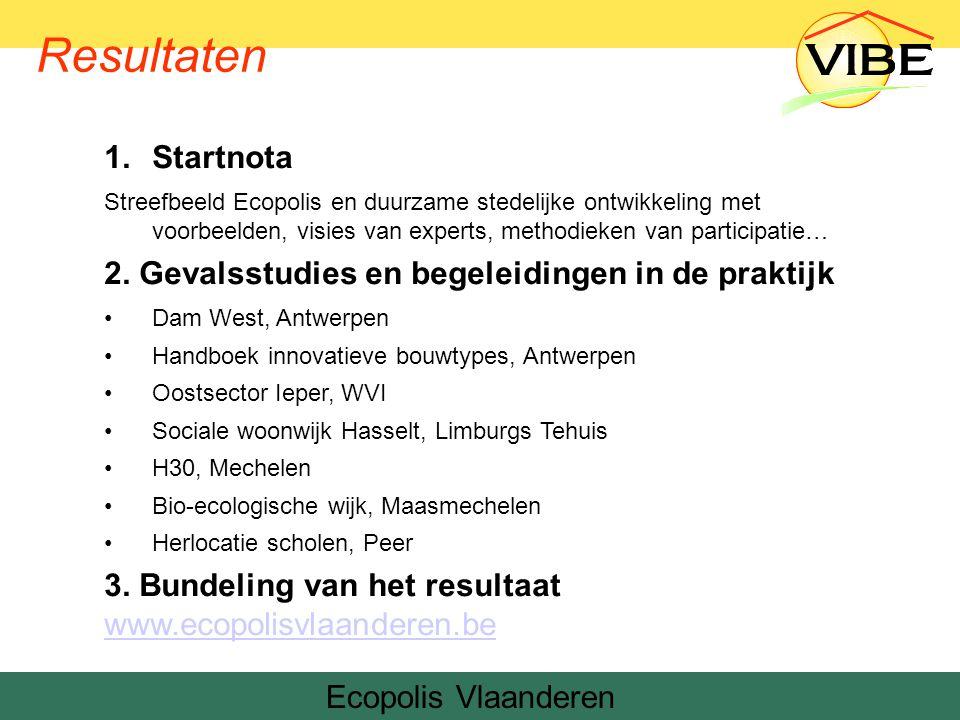 1.Startnota Streefbeeld Ecopolis en duurzame stedelijke ontwikkeling met voorbeelden, visies van experts, methodieken van participatie… 2.