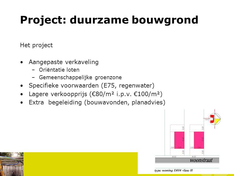 Project: duurzame bouwgrond Het project Aangepaste verkaveling –Oriëntatie loten –Gemeenschappelijke groenzone Specifieke voorwaarden (E75, regenwater) Lagere verkoopprijs (€80/m² i.p.v.