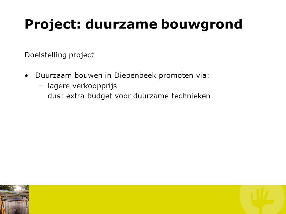 Project: duurzame bouwgrond Doelstelling project Duurzaam bouwen in Diepenbeek promoten via: –lagere verkoopprijs –dus: extra budget voor duurzame technieken