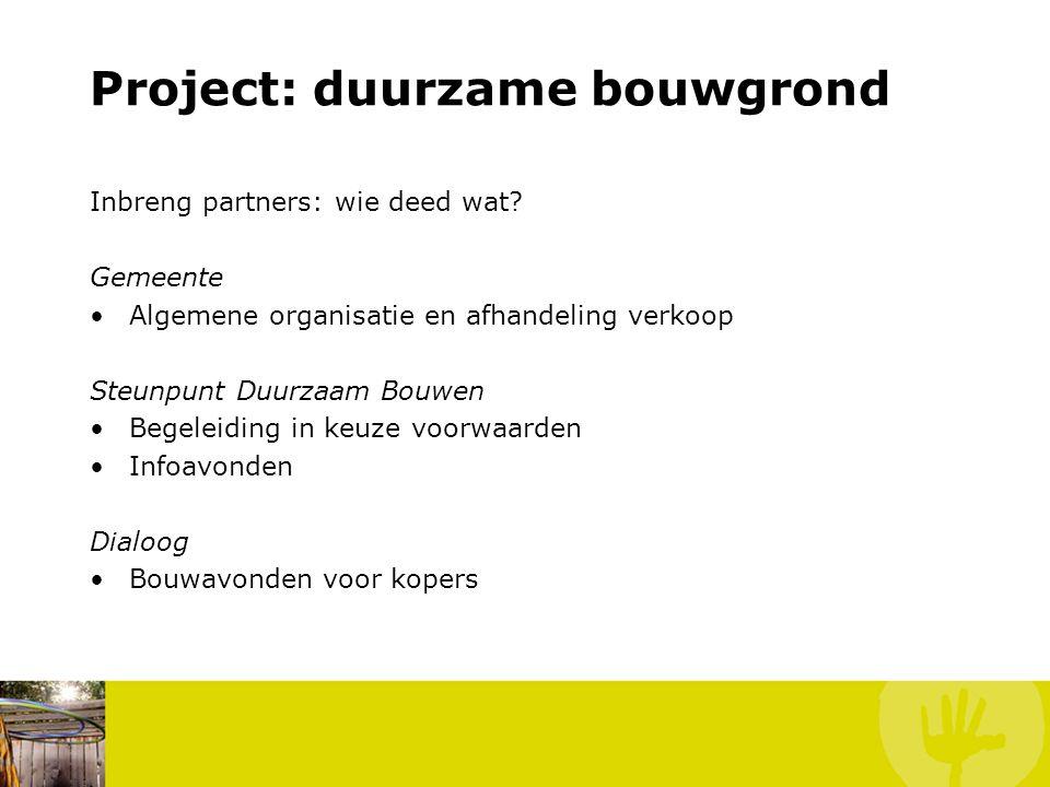 Project: duurzame bouwgrond Inbreng partners: wie deed wat.
