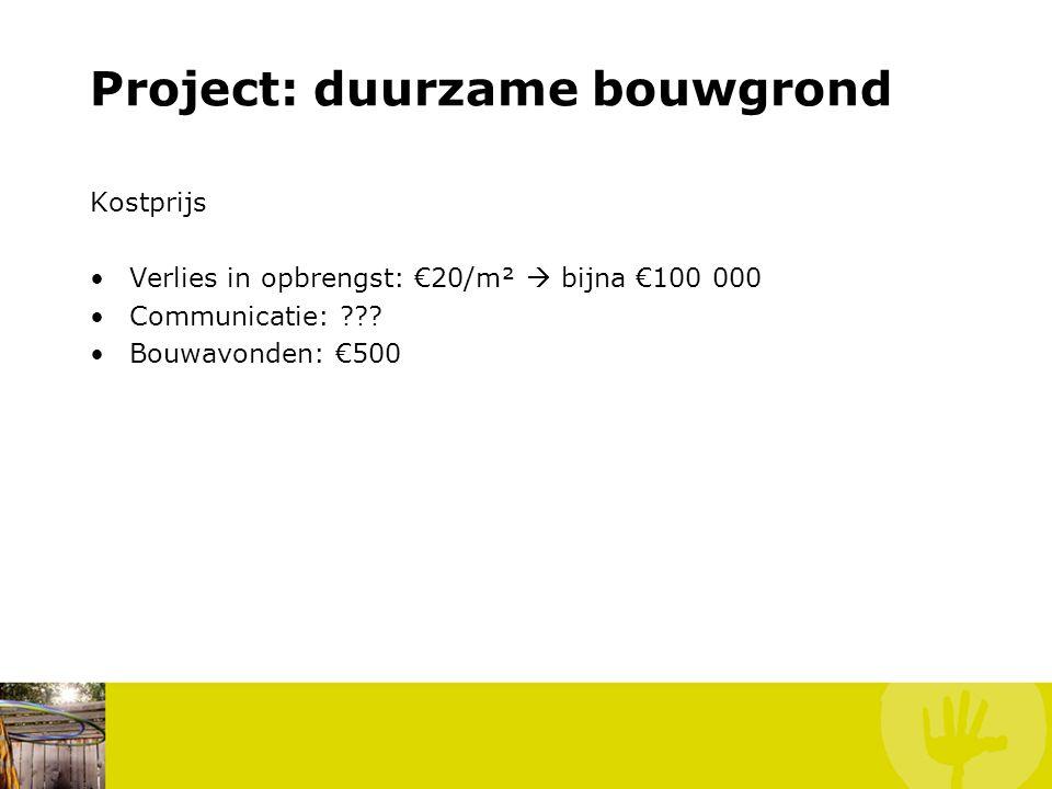 Project: duurzame bouwgrond Kostprijs Verlies in opbrengst: €20/m²  bijna €100 000 Communicatie: .