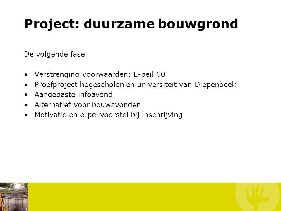 Project: duurzame bouwgrond De volgende fase Verstrenging voorwaarden: E-peil 60 Proefproject hogescholen en universiteit van Diepenbeek Aangepaste infoavond Alternatief voor bouwavonden Motivatie en e-peilvoorstel bij inschrijving