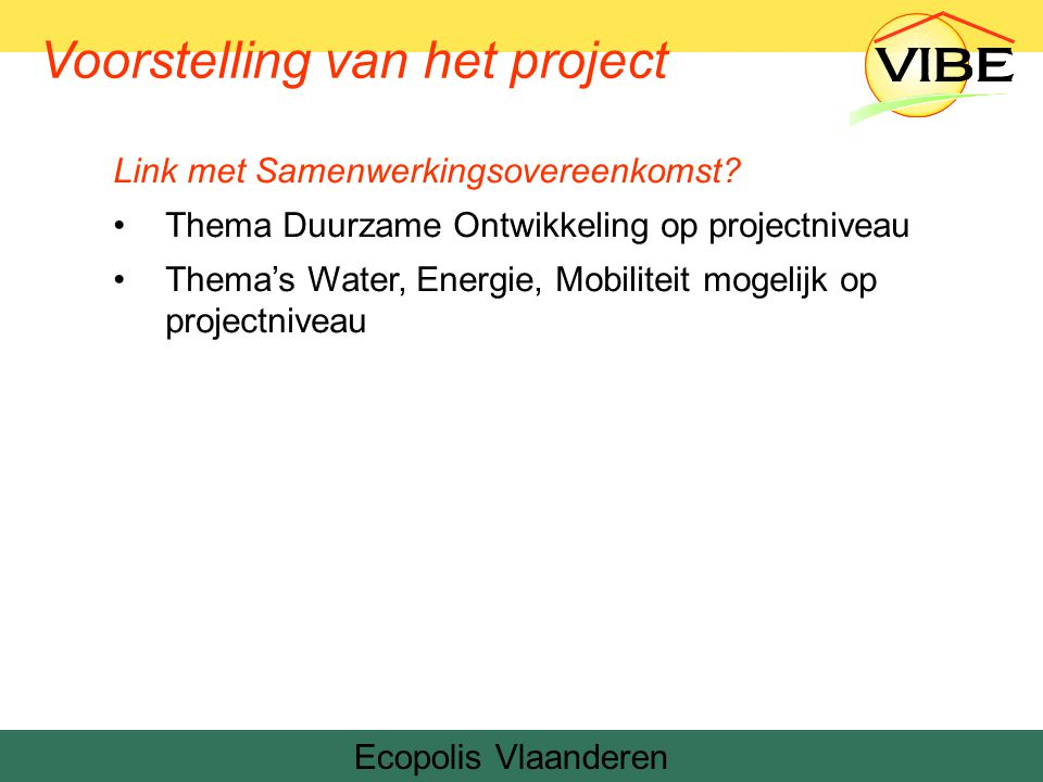Voorstelling van het project Ecopolis Vlaanderen
