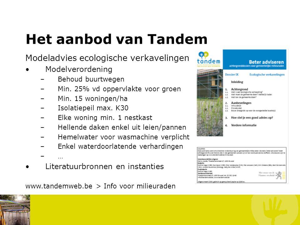 Het aanbod van Tandem Modeladvies ecologische verkavelingen Modelverordening –Behoud buurtwegen –Min.