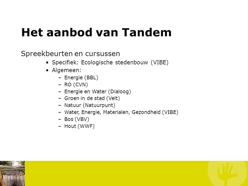 Het aanbod van Tandem Spreekbeurten en cursussen Specifiek: Ecologische stedenbouw (VIBE) Algemeen: –Energie (BBL) –RO (CVN) –Energie en Water (Dialoog) –Groen in de stad (Velt) –Natuur (Natuurpunt) –Water, Energie, Materialen, Gezondheid (VIBE) –Bos (VBV) –Hout (WWF)