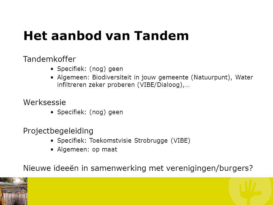Het aanbod van Tandem Tandemkoffer Specifiek: (nog) geen Algemeen: Biodiversiteit in jouw gemeente (Natuurpunt), Water infiltreren zeker proberen (VIBE/Dialoog),… Werksessie Specifiek: (nog) geen Projectbegeleiding Specifiek: Toekomstvisie Strobrugge (VIBE) Algemeen: op maat Nieuwe ideeën in samenwerking met verenigingen/burgers