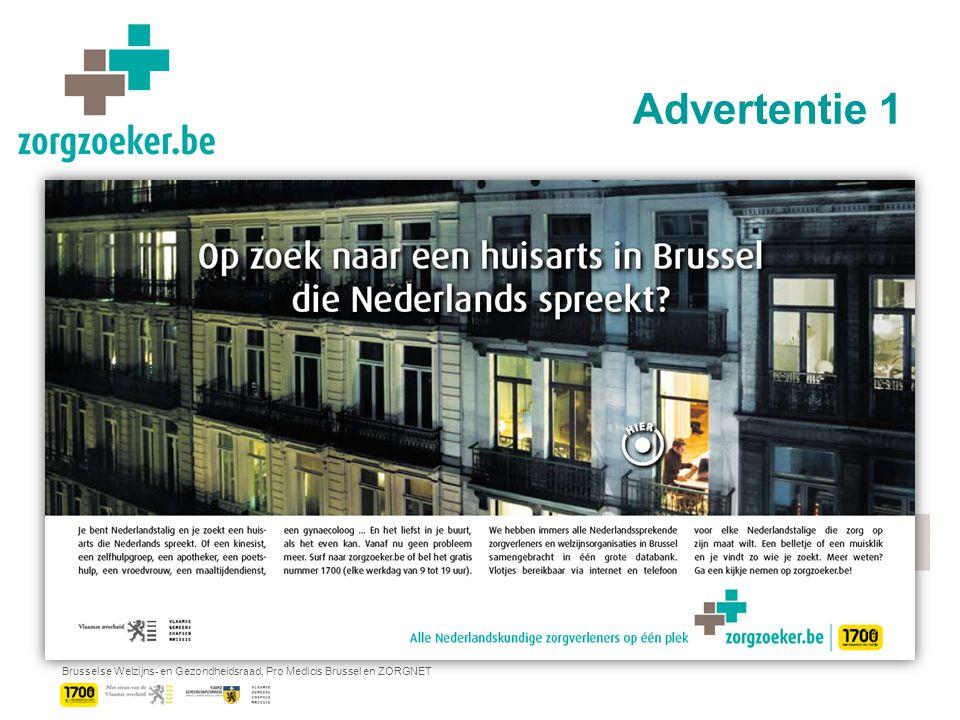 Brusselse Welzijns- en Gezondheidsraad, Pro Medicis Brussel en ZORGNET Advertentie 1