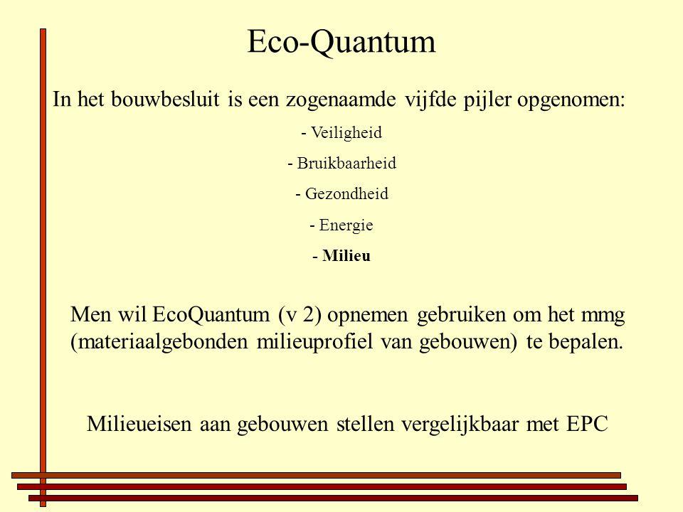 Eco-Quantum In het bouwbesluit is een zogenaamde vijfde pijler opgenomen: - Veiligheid - Bruikbaarheid - Gezondheid - Energie - Milieu Men wil EcoQuantum (v 2) opnemen gebruiken om het mmg (materiaalgebonden milieuprofiel van gebouwen) te bepalen.