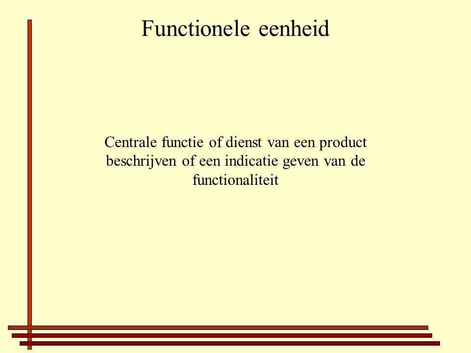 Functionele eenheid Centrale functie of dienst van een product beschrijven of een indicatie geven van de functionaliteit
