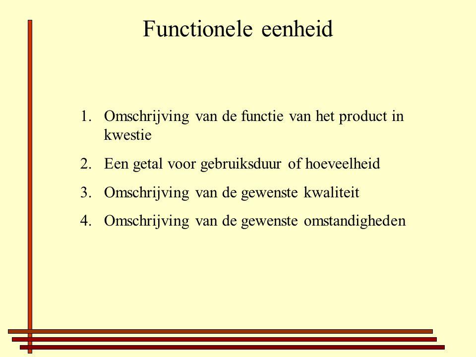 Functionele eenheid 1.Omschrijving van de functie van het product in kwestie 2.Een getal voor gebruiksduur of hoeveelheid 3.Omschrijving van de gewenste kwaliteit 4.Omschrijving van de gewenste omstandigheden
